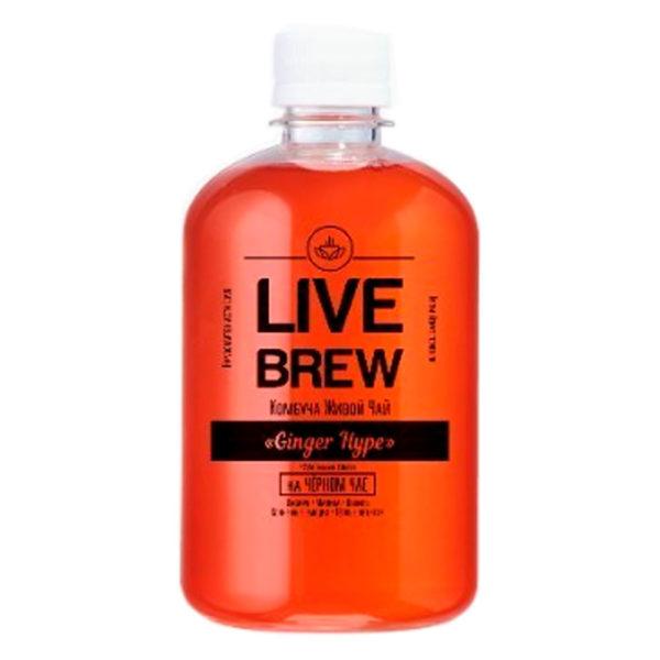 """Live Brew Комбуча Живой Чай """" Ginger Hype' на Черном Чае (520мл пластик)"""