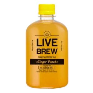 "Live Brew Комбуча Живой Чай ""Ginger PUNCH' на зеленом чае (520мл пластик)"